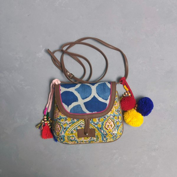 Abstract Floral Print  Braided Sling Bag