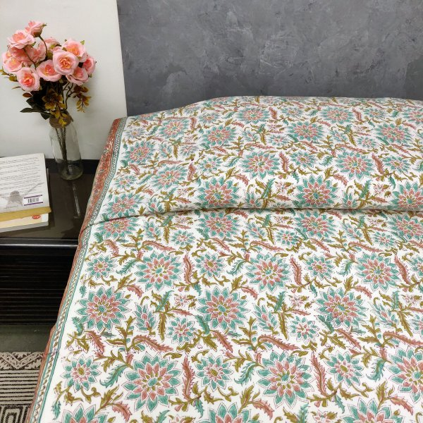 Blue and Peach Floral Design Single Size Bedsheet