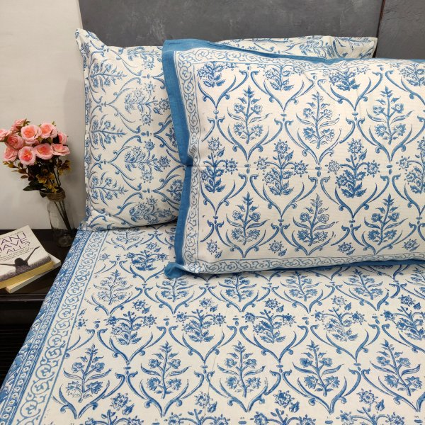 Blue and White Floral Double Bedsheets