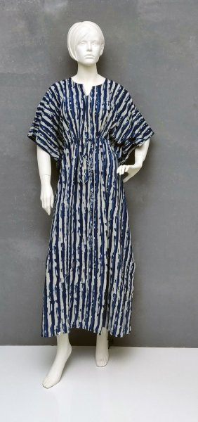 Blue Based Beige Stripes Kaftan