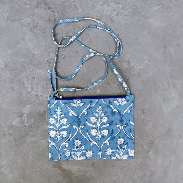 Blue Based White Floral Canvas Sling Bag
