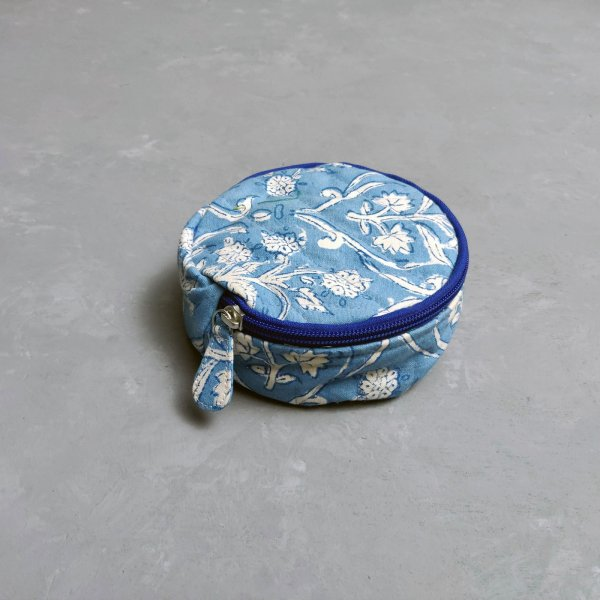 Blue Based White Floral Jewellery Pouch