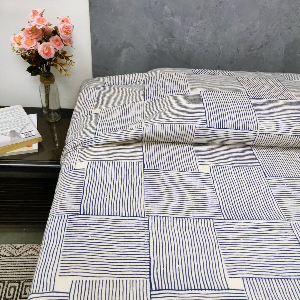Blue Double Sided Stripes Single Size Bedsheet