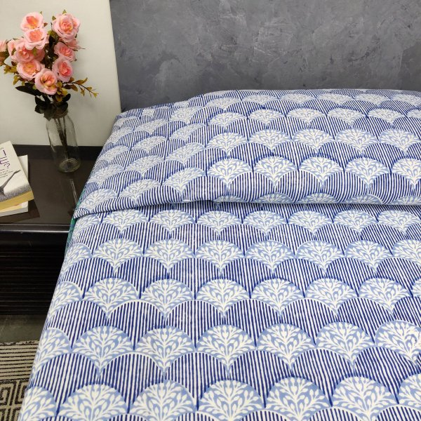 Blue Floral and Stripe Design King Size Bedsheet