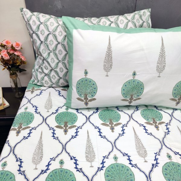 Carnation and Pine Tree Butta Double Bedsheet