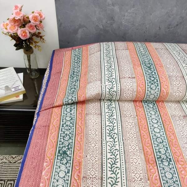 Colourful Stripes Design Single Size Bedsheet