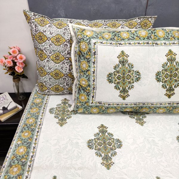 Delicate Yellow Floral Double Bedsheet