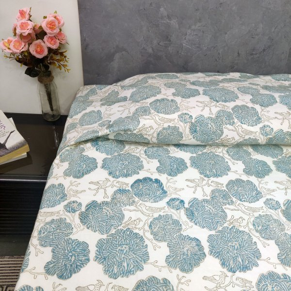 Floral and Bird Design Single Bedsheet