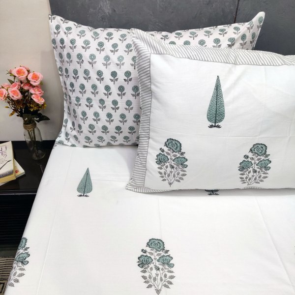 Floral Bouquet and Pine Tree Butta Double Bedsheet