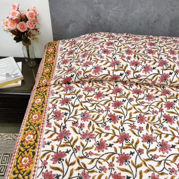 Floral Print Yellow Border Single Size Bedsheet