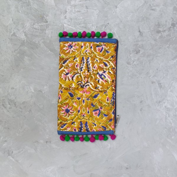Floral Printed Ochre Based Wallet