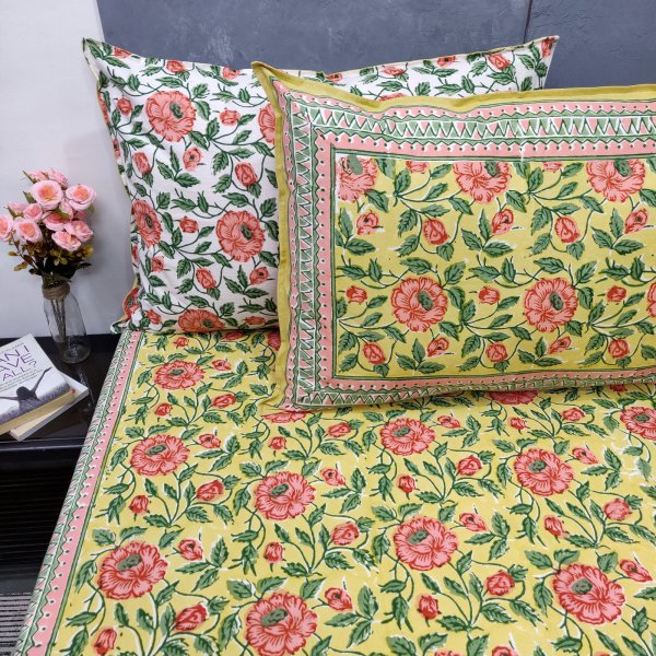 Full Bloom flower Double Bedsheet