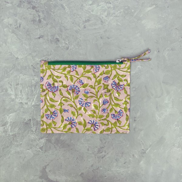 Green and Purple Hued Medium Canvas Pouch
