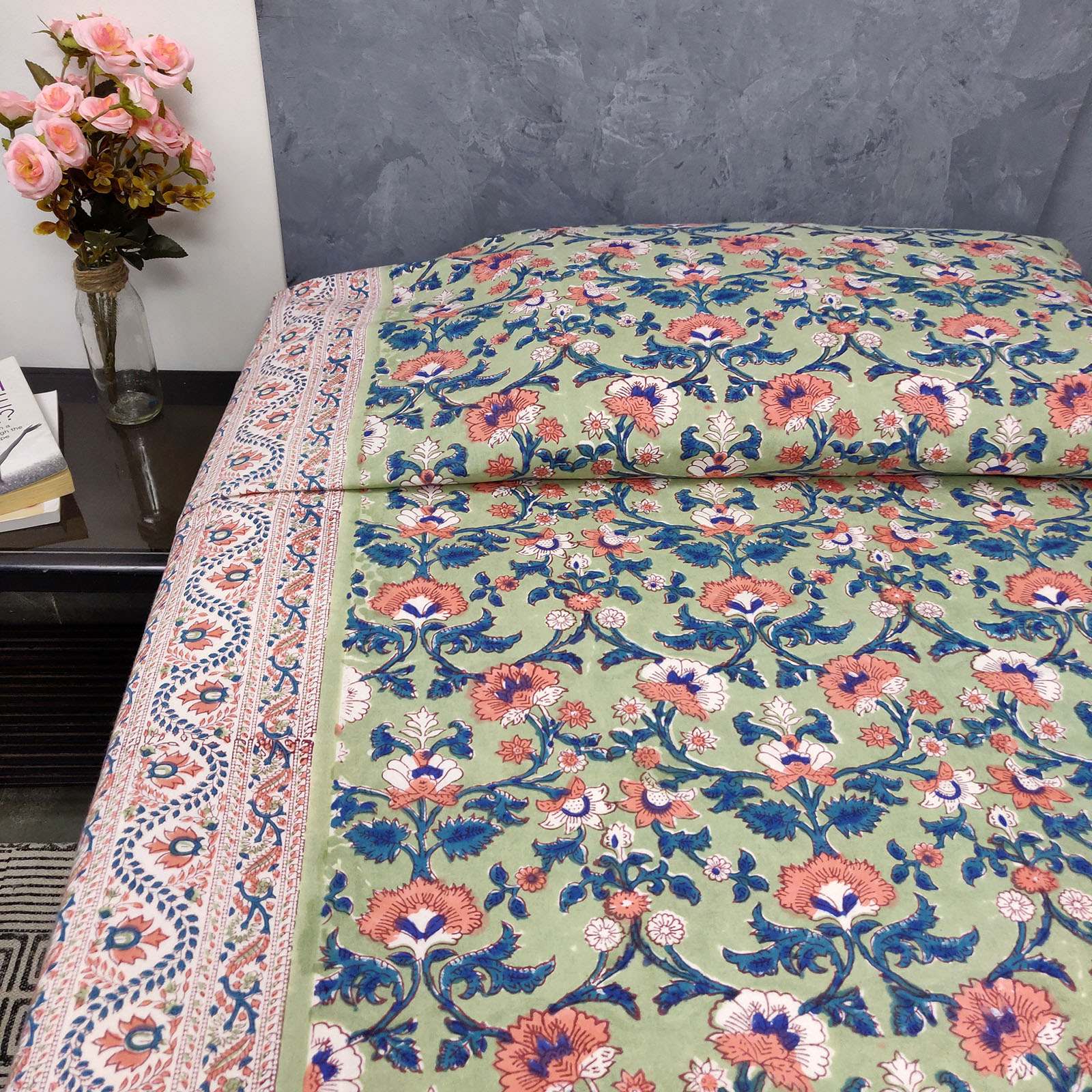 Green Based Floral Design King Size Bedsheet