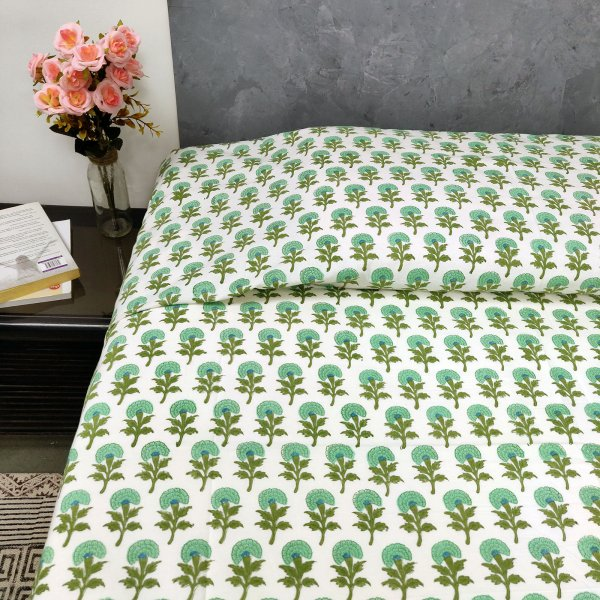 Green Floral Butta Single Bedsheet