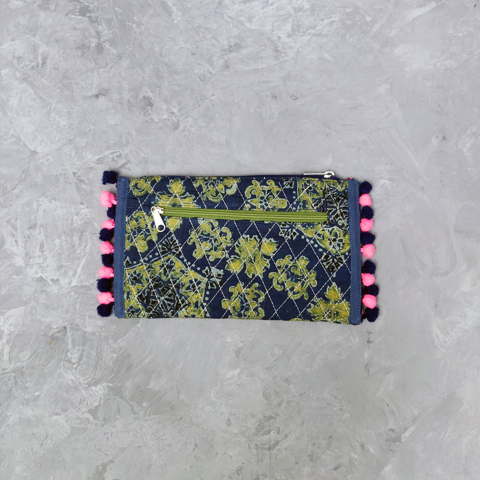 Green Floral Print Blue Based Wallet