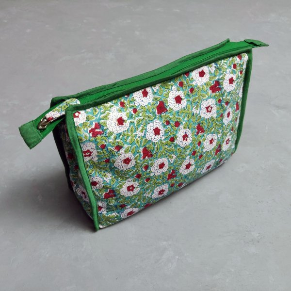 Green Floral Printed Large Toilet Pouch