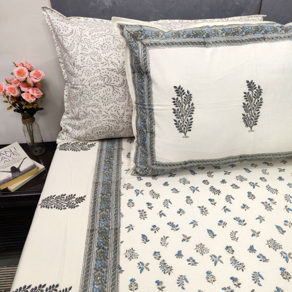 Grey and Blue Floral Double Bedsheets