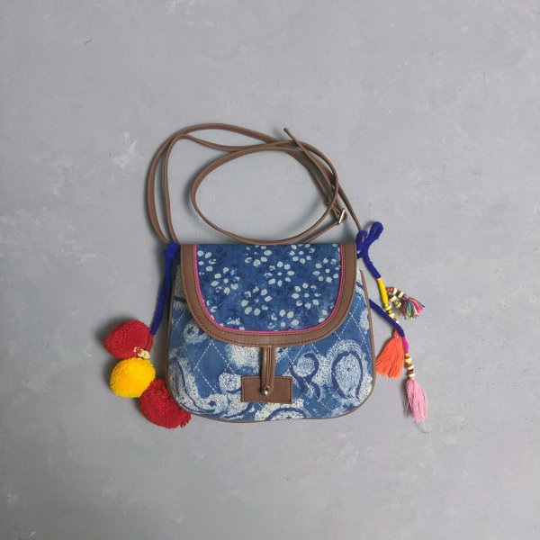 Indigo Hued Braided Sling Bag