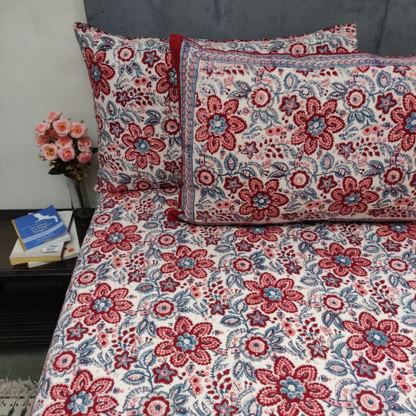 Jilia Floral Maroon Red Double Bedsheet