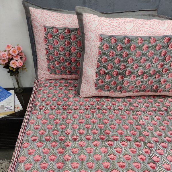 Pink Floral Dyti Double Bedsheet