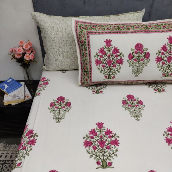 Floral Mughal Boota Green Pink Double Bedsheet