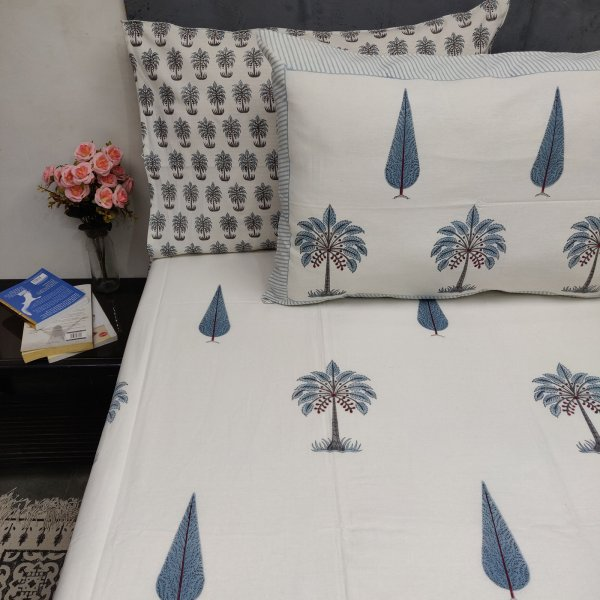 Pine Palm Floral Double Bedsheet