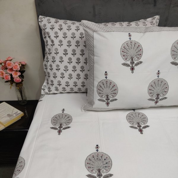Carnation Grey Mughal Boota Double Bedsheet