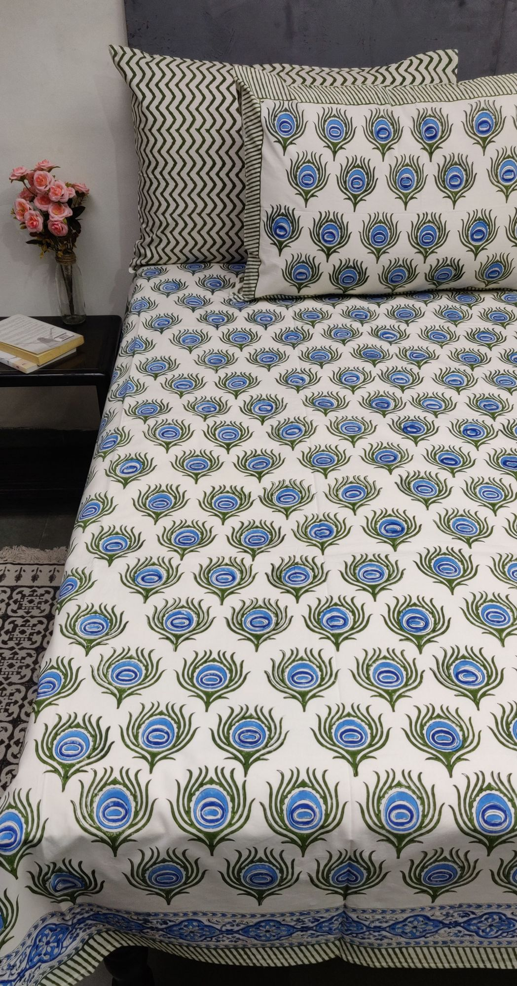Peacock Blue Mughal Boota Double Bedsheet