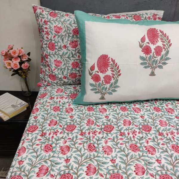 Pink Floral Jaal Mughal Boota Double Bedsheet