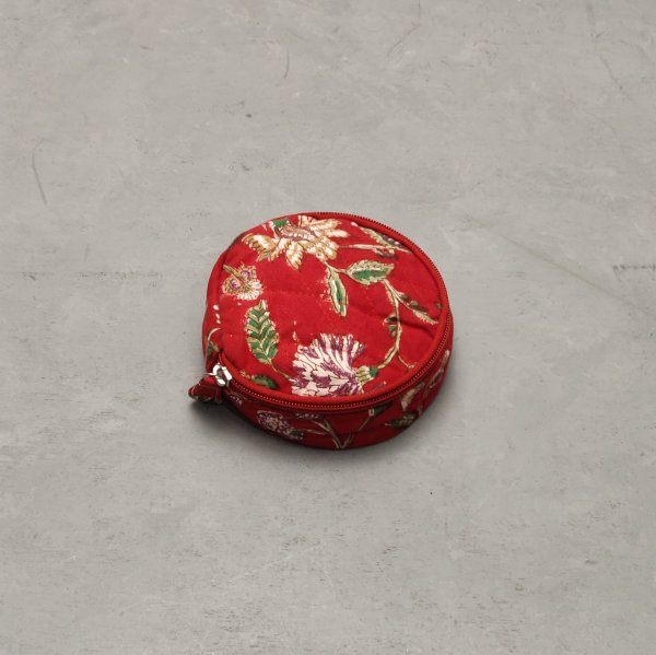 Red Based  Floral Jewellery Pouch