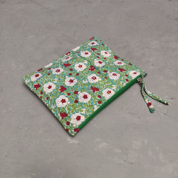 Green Floral Medium Canvas Pouch