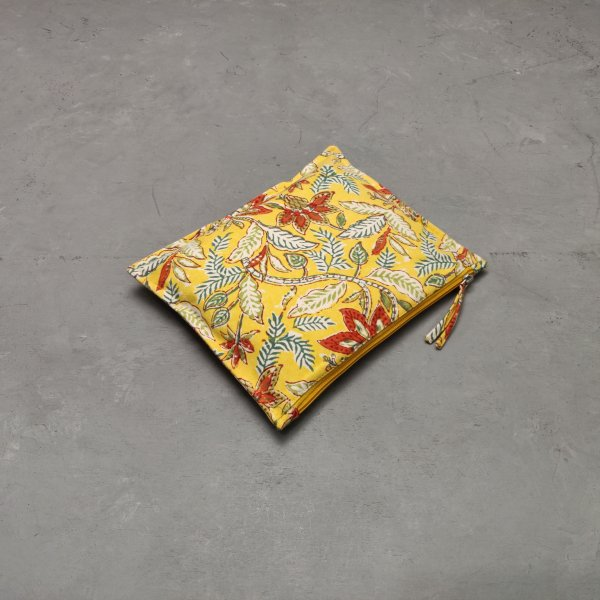 Yellow  and Red Floral Large Canvas Pouch