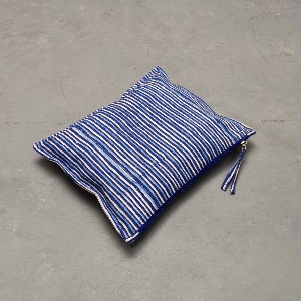 Blue Stripes Large Canvas Pouch