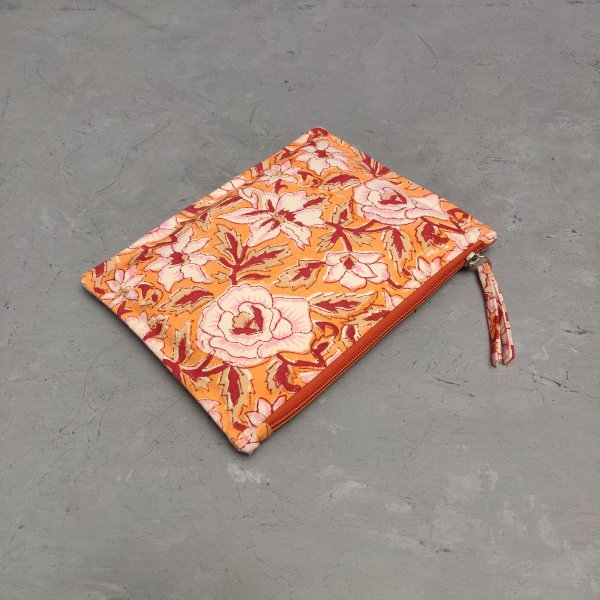 Red and Orange Floral Medium Canvas Pouch