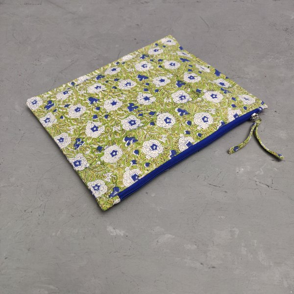 Green Blue Large Canvas Pouch