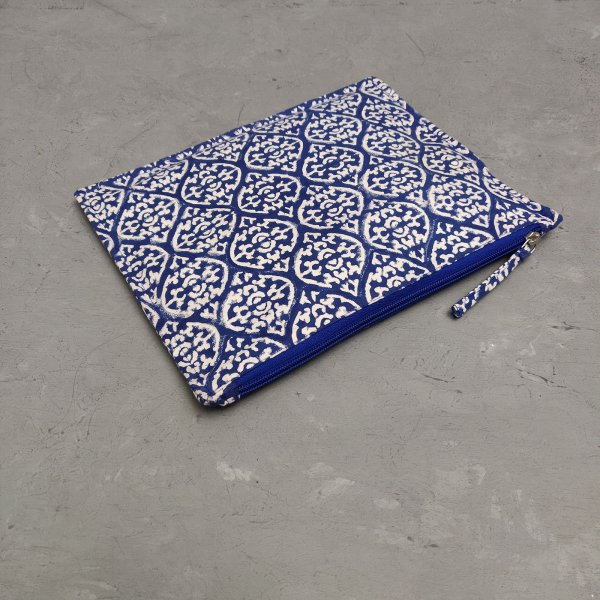 Blue White Floral Symmetric Large Canvas Pouch