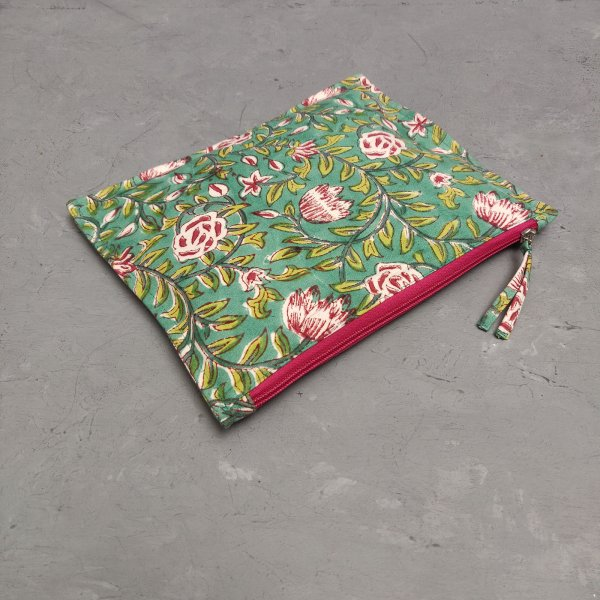 Floral Green Pink Large Canvas Pouch LCP30