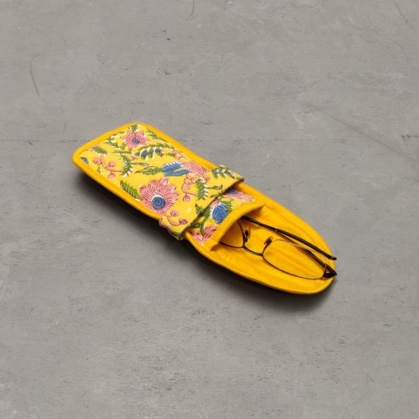 Yellow and Pink Floral Printed Spec or Mobile Pouch
