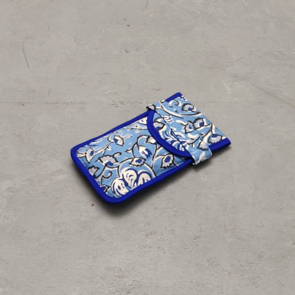 Blue Floral Printed Spec or Mobile Pouch