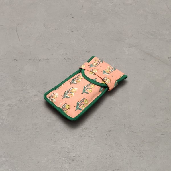 Peach Floral Printed Spec or Mobile Pouch