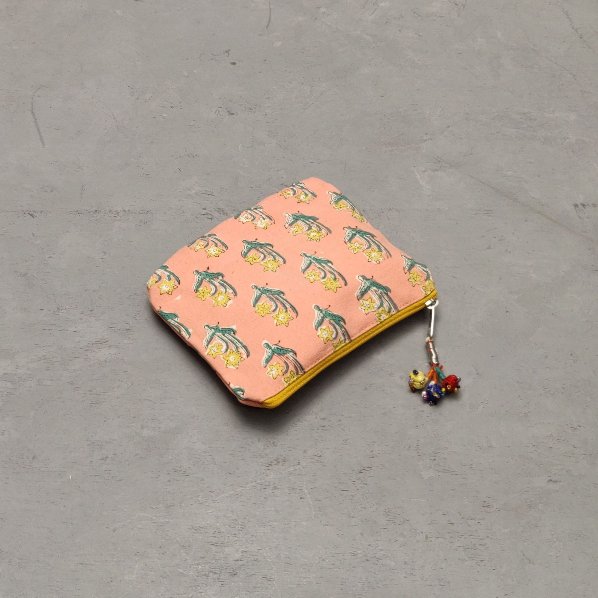 Peach with Yellow Floral Details Small Canvas Pouch
