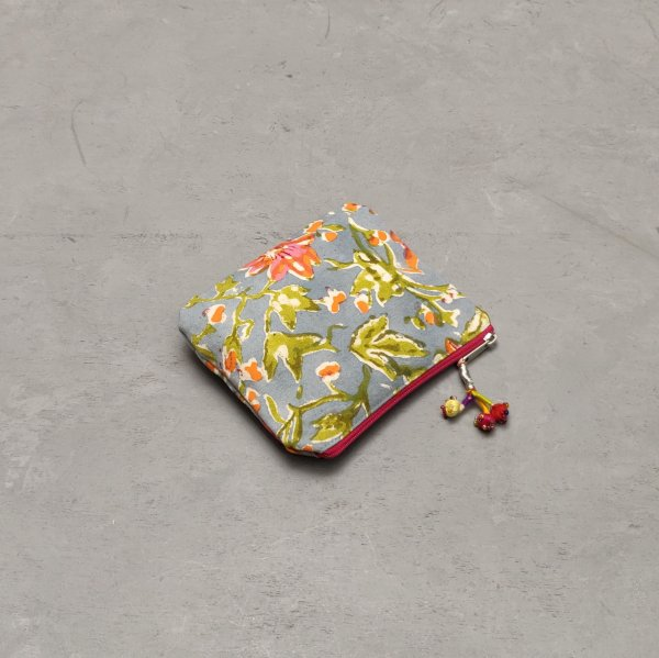 Orange and Green Floral Detailed Small Canvas Pouch