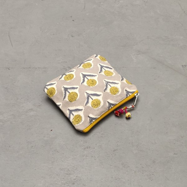 Grey with Yellow Floral Details Small Canvas Pouch