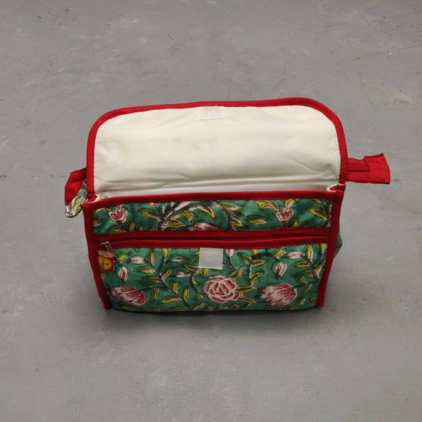 Green Floral Red Piping Twin Toilet Pouch