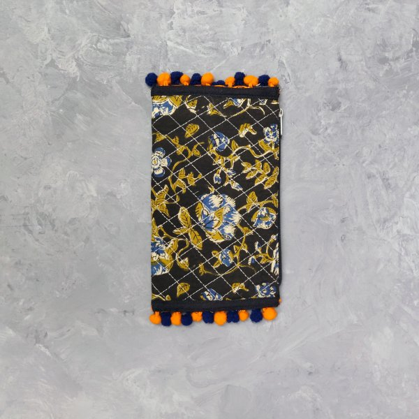 Floral Printed Black Based Wallet