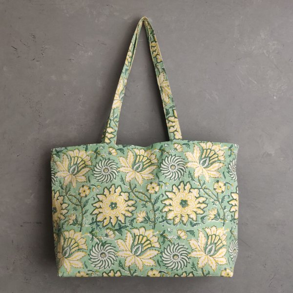 Light Green Floral Big Canvas Tote Bag