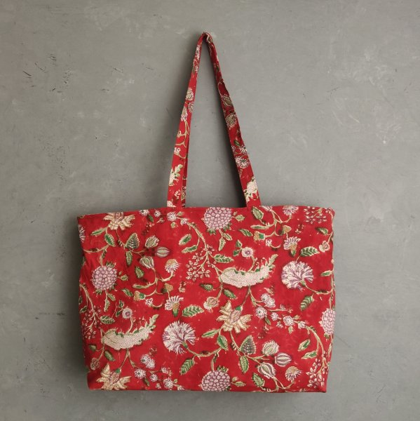 Red Floral Big Canvas Tote Bag