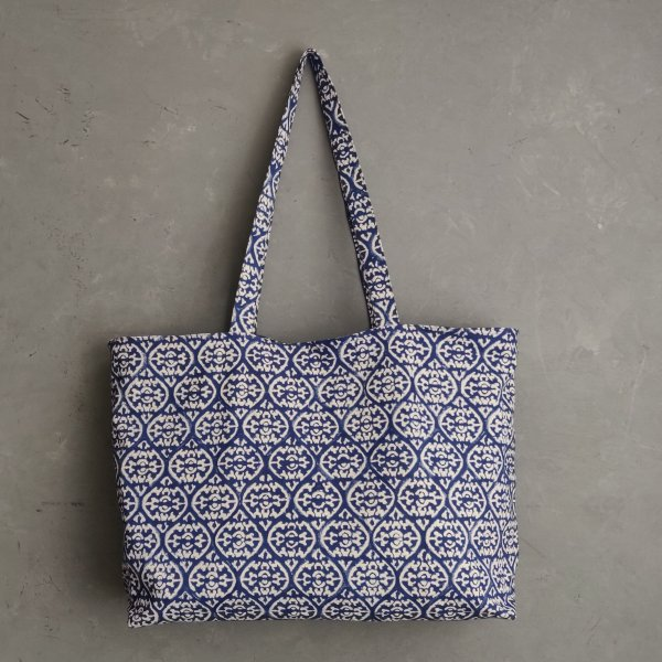 Blue Floral Big Canvas Tote Bag