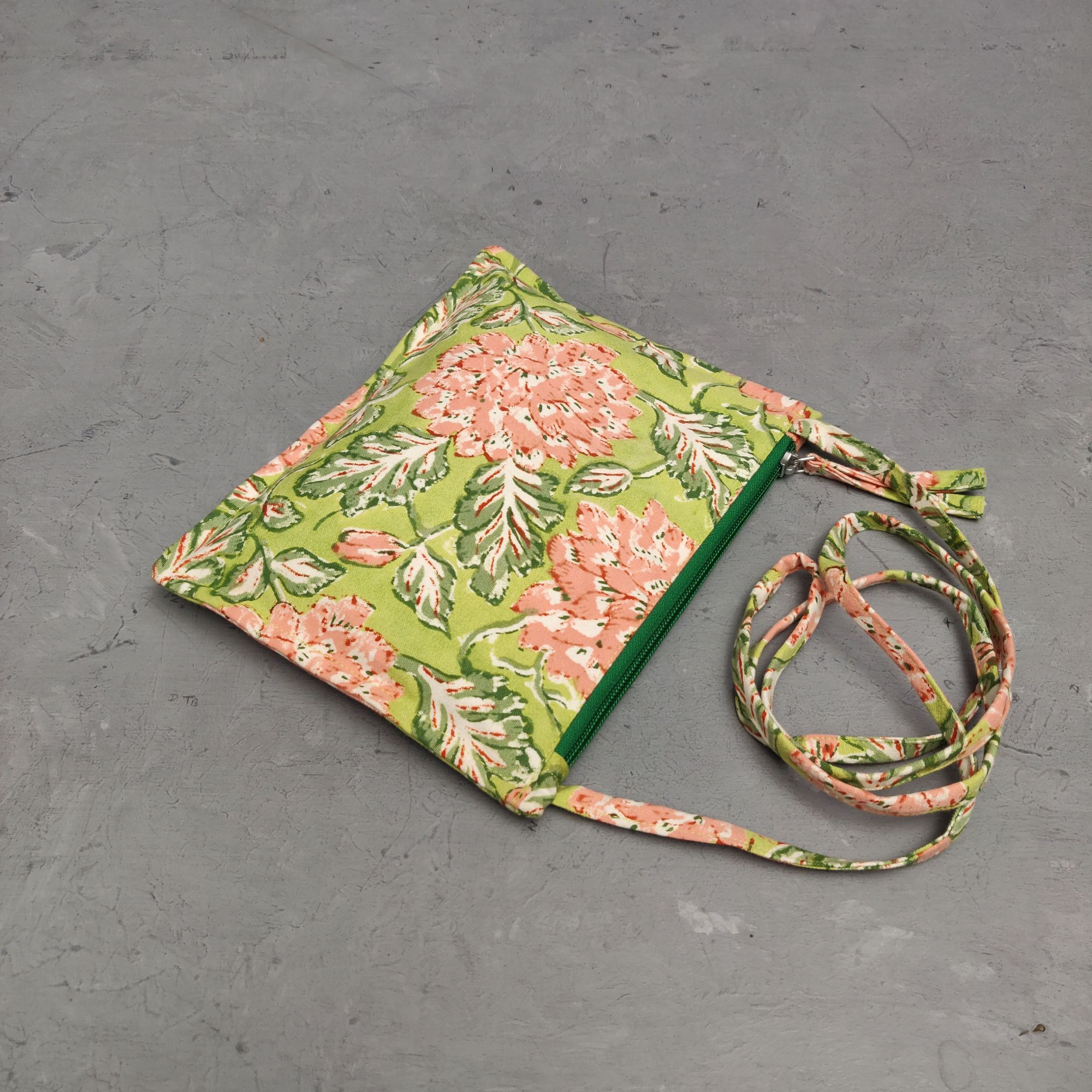 Green Based Peach Floral Canvas Sling Bag